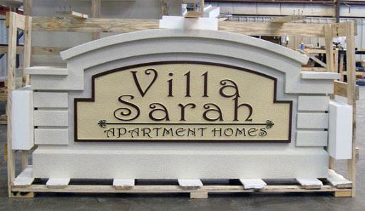 Model #11 Sandblasted sign on apartment complex entrance monument sign