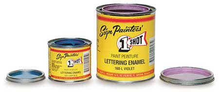 1 Shot! comercial sign enamels open paint cans