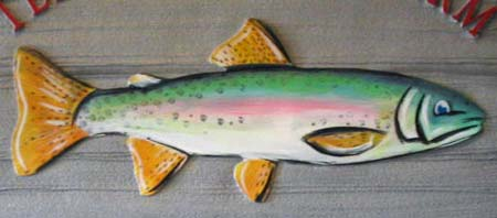 hand-painted sandblasted sign trout