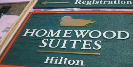 sandblasted hotel sign for Hilton Homewood Suites