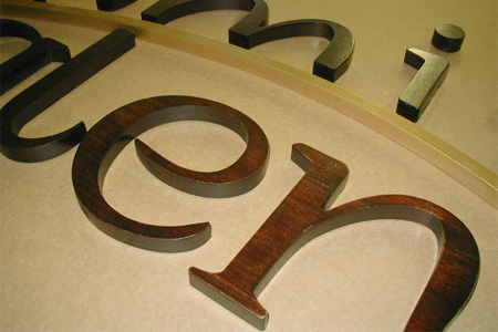CNC Routed Logo from Poplar Wood