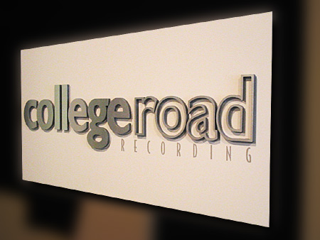 College Road Recording PVC Backer with Brushed Aluminum Letters