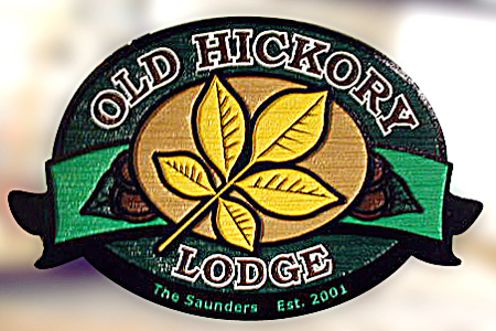 Old Hickory Lodge HDU Wood Grain Sign