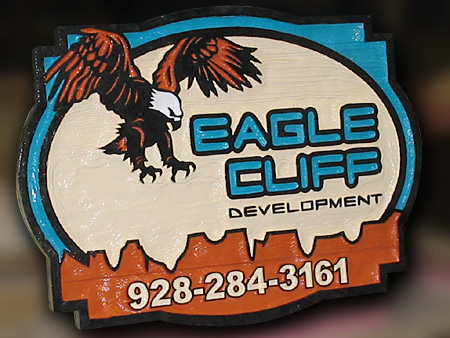 Eagle Cliff Real Estate Development Wood Sign