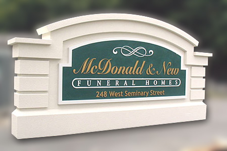 McDonald and New Funeral Homes Standard Sign Monument and Sign Face