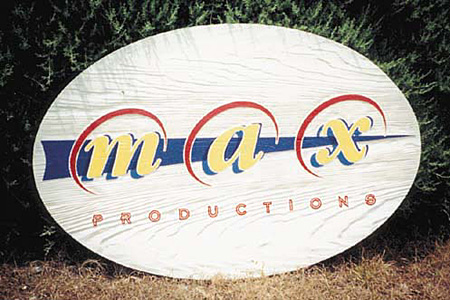 Max Productions Wood Lobby Sign