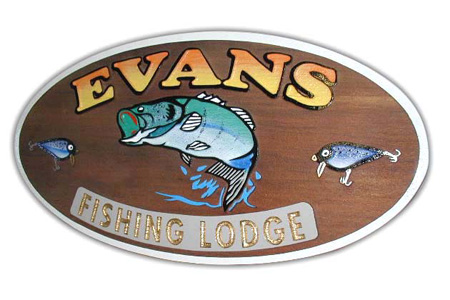 Evans Fishing Lodge Natural Wood Sandblasted Sign with Air Brushed Graphics