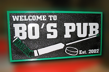 Bo's Pub HDU Sandstone Private Home Bar Hockey Sign