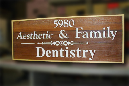 Aesthetic Family Dentistry Natural Wood Sign