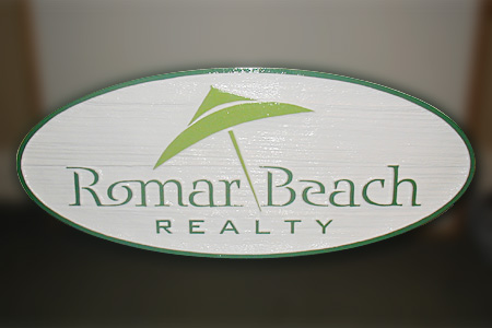 Romar Beach Realty Wood Signage