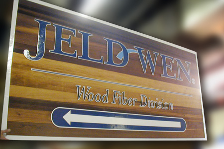 Jen Weld Wood Fiber Natural Clearcoat Stained Wood Sign