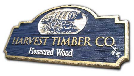 custom business sandblasted sign HDU trademark rustic chunked edges