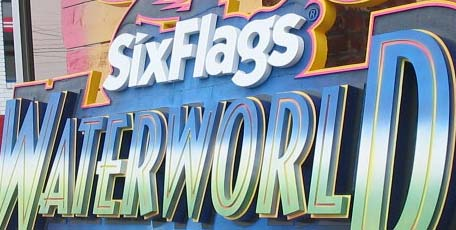 sandblasted sign six flags waterworld theme park entrance