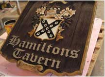 carved sign hamiltons tavern