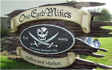 carved sign one eyed mike's