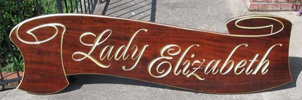 carved sign teak