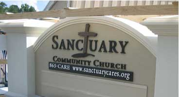 church signs sanctuary monument
