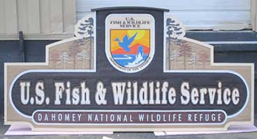 U.S. Fish and Wildlife wood sandblasted signage
