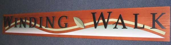 stained wood interior business sign