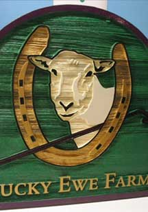 sandblasted wood farm sign